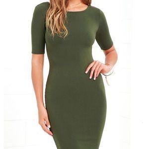 Joe & Elle olive green bodycon dress